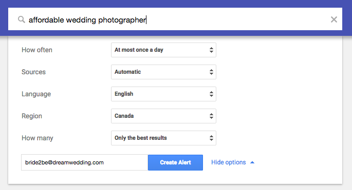 Image of google alerts window to help brides find affordable wedding photographers.