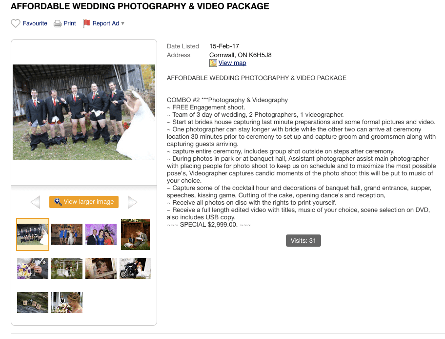 Image of a Kijiji post that will help you find a discount wedding photographer.